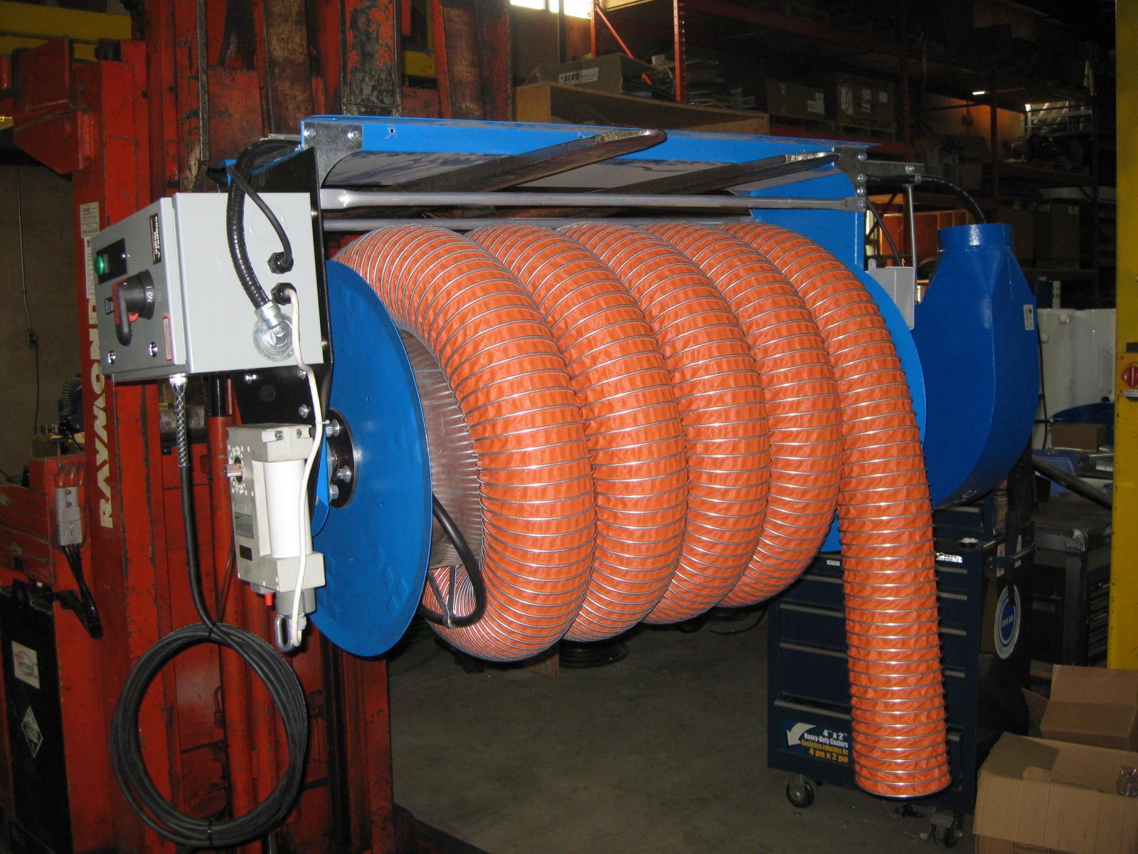 Vehicle Exhaust Motorized Hose Reels